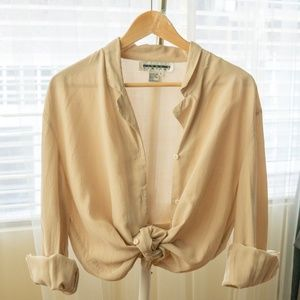 Nude 100% silk button up blouse